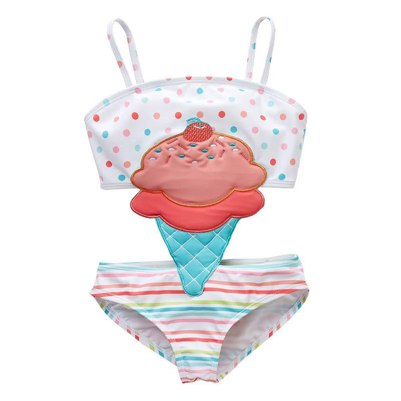 ew 2019 cute ice cream Kids Swimwear One-piece Girls Swimsuit Kids Swim Suits Girls Bikini Kids Bathing Suits Child Sets Beachwear A4369
