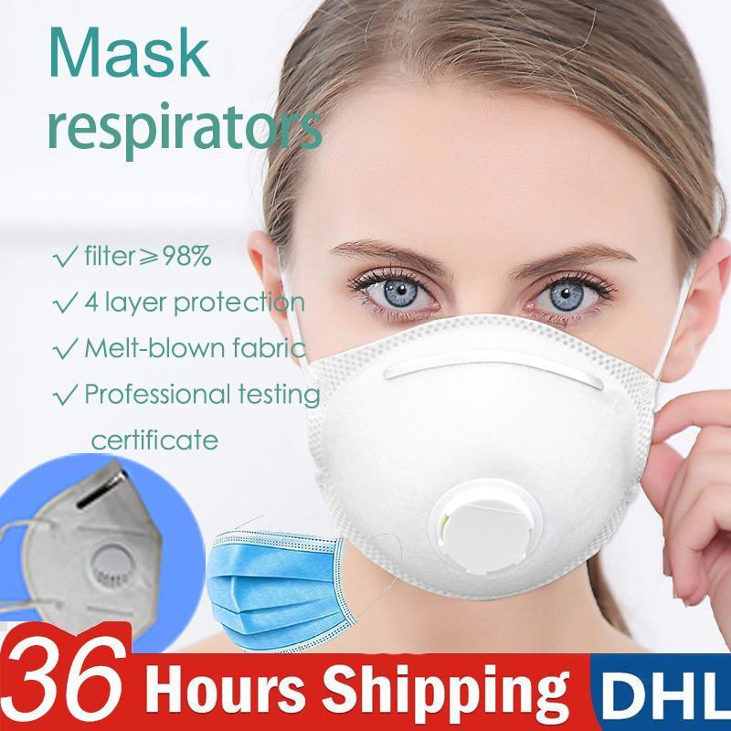 Dhl Mask Respirators Disposable Face Mask 4 Layers Protection Reusable With Breathing Valve Air Filter Respirator Mascherine Dust PM2.5 Mask