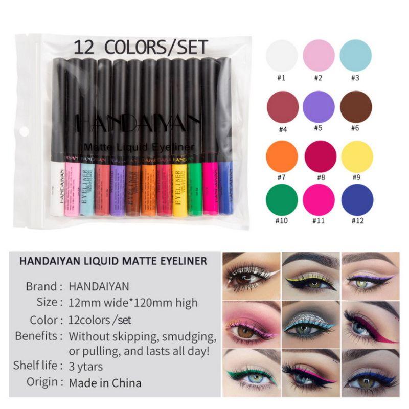 12 pièces en un paquet de maquillage eyeliner mat Waterprof eyeliner coloré durable tous les jours liquide yeux stylo