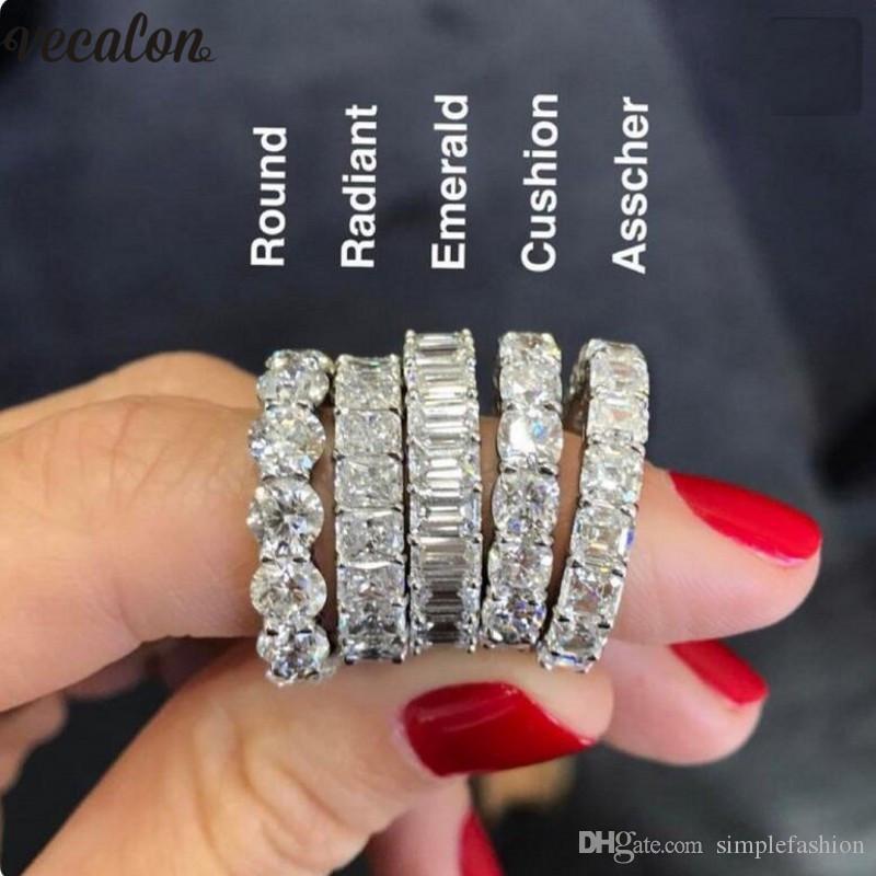 Vecalon 6 style Bague d'éternité Promesse de diamant de pierre argent 925 anneaux de fiançailles mariage bande pour les femmes bijoux hommes