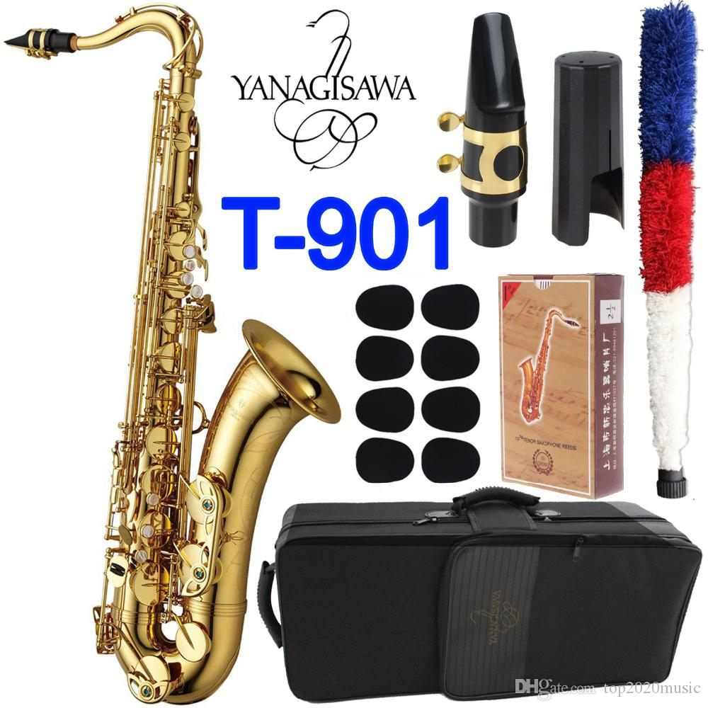 T-901 ب ب اللحن تينور ساكسفون عالية الجودة براس الذهب الطلاء الغربية اللعب آلات موسيقية ساكس مع حالة لسان الحال