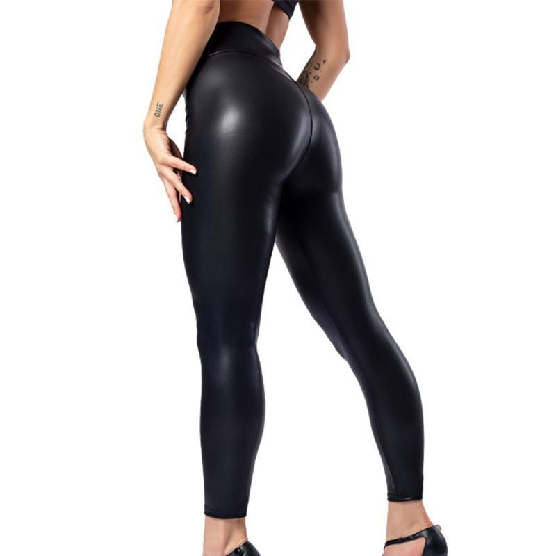#H35 Thin PU Leather Leggings Women Leather Wet Look Shiny High Waist Ankle-Length Pants Women Casual Jeggings Leggings