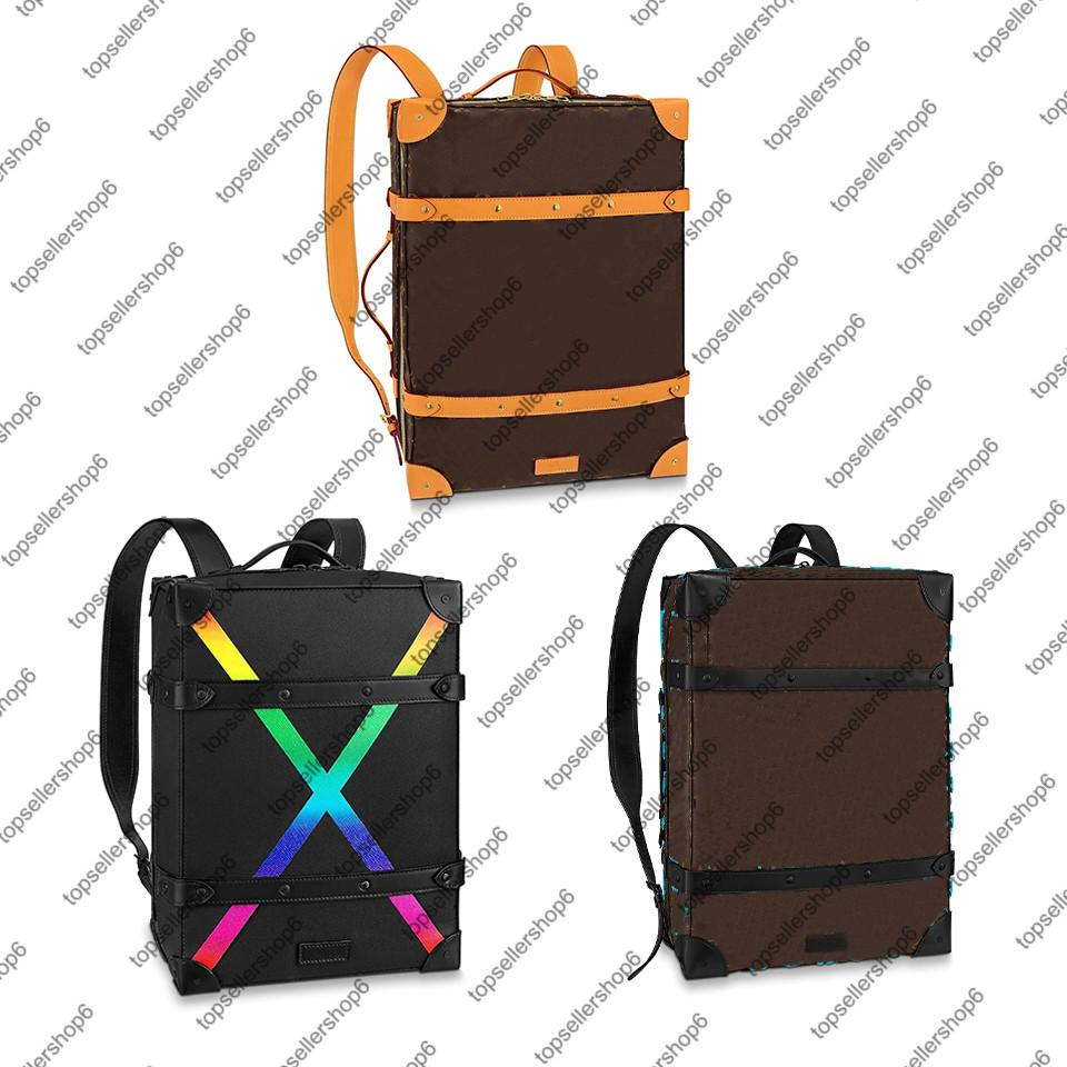 M44749 m45077 M30337 Zaino del tronco morbido mm PM Genuine in pelle di vitello Canvas Rainbow X Uomo Donne bagagli Top Maniglie per borsa Satchel Borsa Borsa