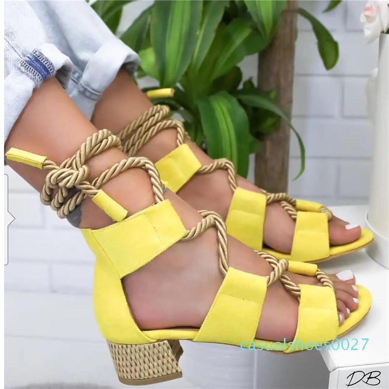 Monerffi 2019 Espadrilles Kadınlar Sandalet Topuk Sivri Balık Ağız Gladyatör Sandalet Kenevir Halat Lace Up Platformu Sandalet MX190727 C27