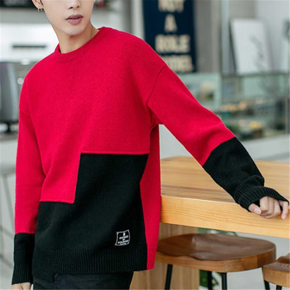 Mens Christmas Outfits 2020 2020 Fashion Men Knitted Pullovers Autumn Winter Color Matching