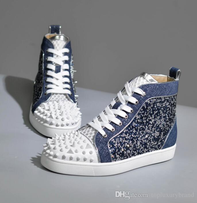 Zapatos al por mayor de los hombres de moda con pinchos rojos inferior uñas de los hombres zapatillas de deporte con la astilla del Rhinestone Triángulo Rojo Brillante Grano hombres zapatos de moda genuino