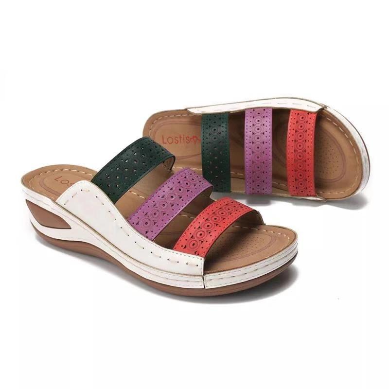 Sapatos New Verão Mulheres Sandals Grosso Sole antiderrapante Holiday Beach Verão Sandals Ladies Footwear Big Size 42 YX2434