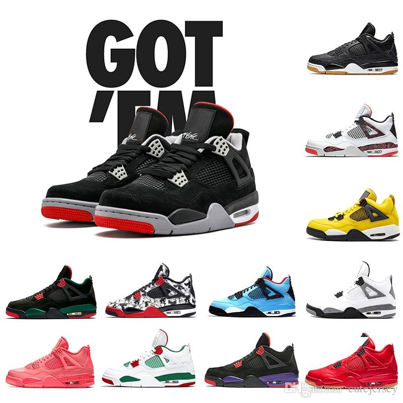 FIBA Neon What the 4 Cool Grey Rasta Basketball Shoes 4s New Bred Black Cat Pure Money Royalty Raptors Men cestos Sports Sneakers