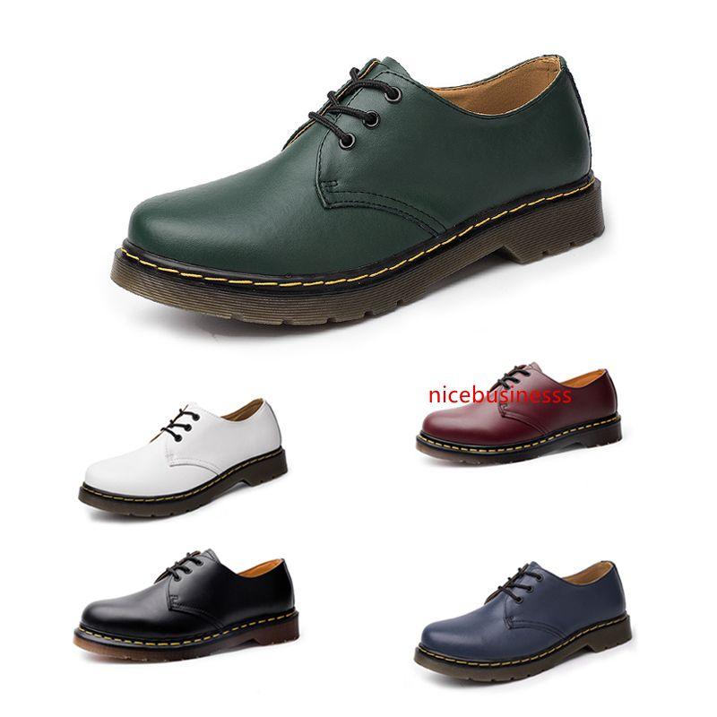 Top qualité sans marque à faible Top Chaussures Martin pour homme femme Bottes British Tooling style Bleu Vert Rouge Noir Blanc Chaussures Taille 38-45