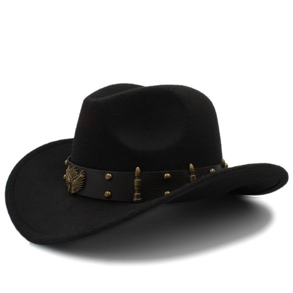 Wome Uomo Nero Lana Chapeu Occidentale Cappello da cowboy gentiluomo Jazz Sombrero Hombre Cap elegante signora Riverso Cappelli Taglia 56-58CM T200104
