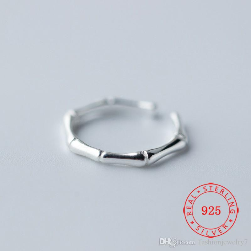 S925 Sterling Silver Chic Women Jewelry Fashion Personality Bamboo Bone Opening Knuckle Ring Midi Finger Rings
