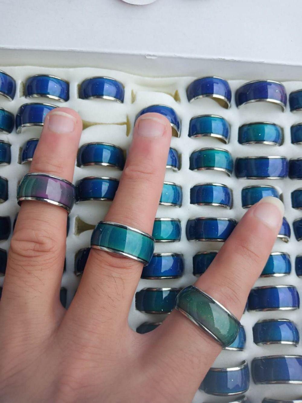 Anel de humor 10mm de largura anel de estudante de aço inoxidável anel de mudança de cor mix tamanho 17 a 21