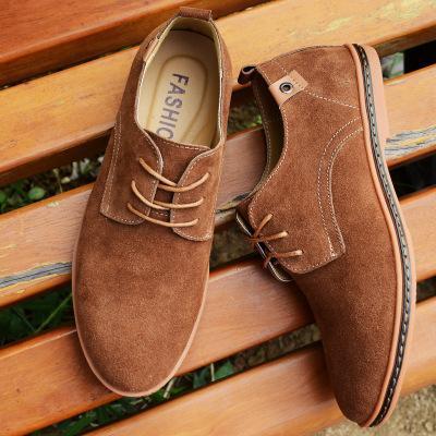 Новые замшевые мужские кожаные туфли твердые шнуровка большой размер 38-48 Повседневная обувь мужские квартиры удобные туфли-лодочки мужская мягкая обувь