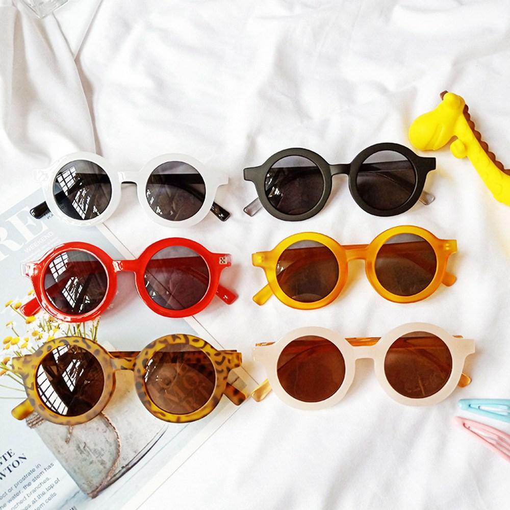 الرجعية النظارات الشمسية الاطفال جولة كاملة مصمم النظارات الإطار بنين بنات موضة عتيقة نظارات شمس للشاطئ السفر خذ صور 6 ألوان HHA1285