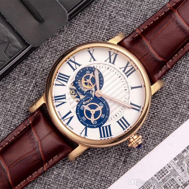 Мужские спортивные и развлекательные часы маховик дизайн полностью автоматическое механическое движение 316L корпус из нержавеющей стали коричневый кожаный ремешок 42 мм 13 мм