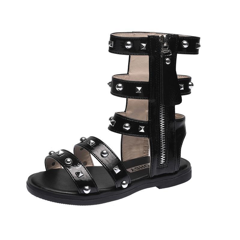 Kids Gladiator Sandals Children Shoes Summer Boots High-top Fashion Roman Girls Shoes Rivets Princess Sandals High-quality