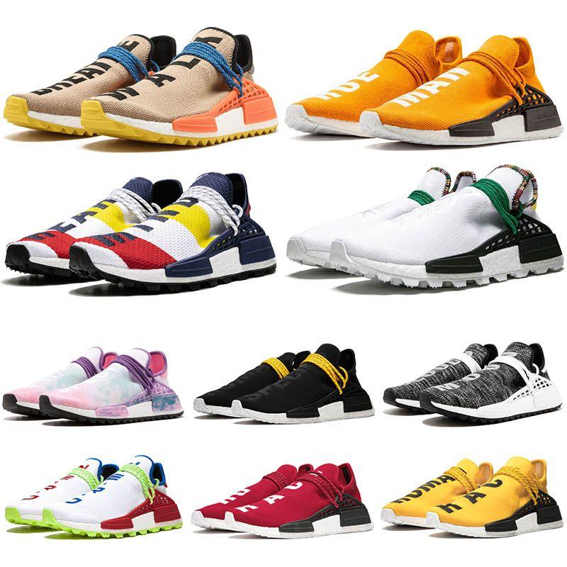 Originals PW 36-47 Human Race Mens Fashion Trainers Tennis shoes Orange Solar Pack Yellow triple black white Hu Womens Designer Sneakers