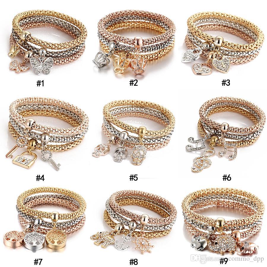3 unids / set Crystal Owl Crown Heart Pulseras Rhinestone Elefante Cráneo Notas de la música mariposa Bloqueo de teclas Árbol de la vida Charm Bangle Jewelry