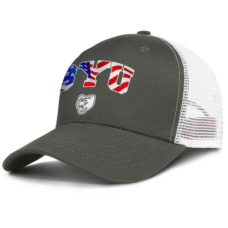 BYU Cougars de Brigham Young USA drapeau de football logo pour hommes et femmes réglable meshcap de camionneur équipé baseballhats de mode personnalisés équipée 3d