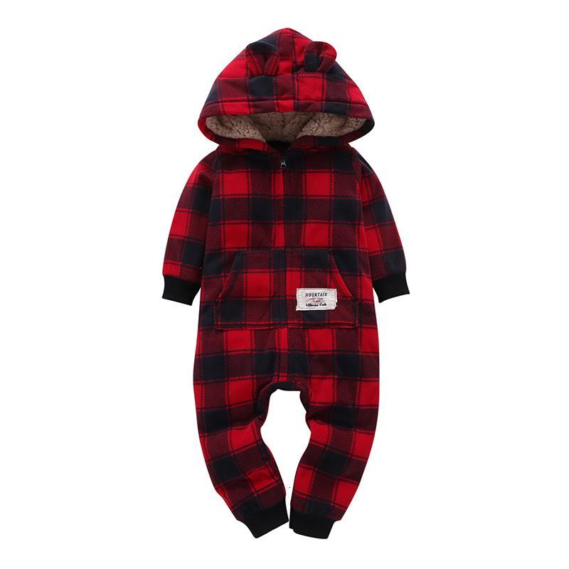 Çocuk erkek kız Uzun Kollu Kapüşonlu Polar tulum tulum kırmızı ekose Yenidoğan bebek kış giysileri unisex yeni doğan kostüm 2019 MX 180912