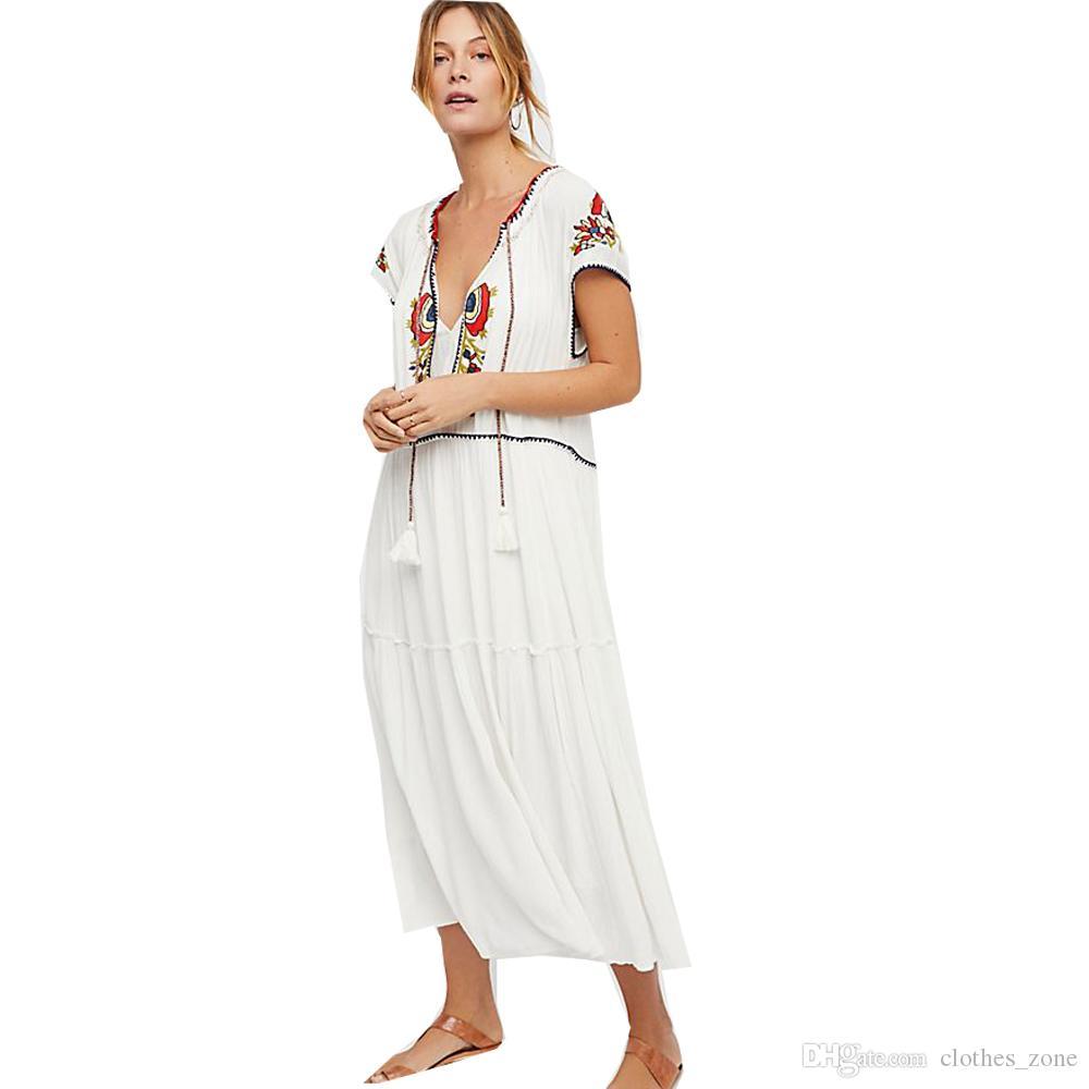 Meilleur Bohème # Maxi robe blanche brodée Smock vintage élégant Glands plage vacances Casual Boho femme Robes