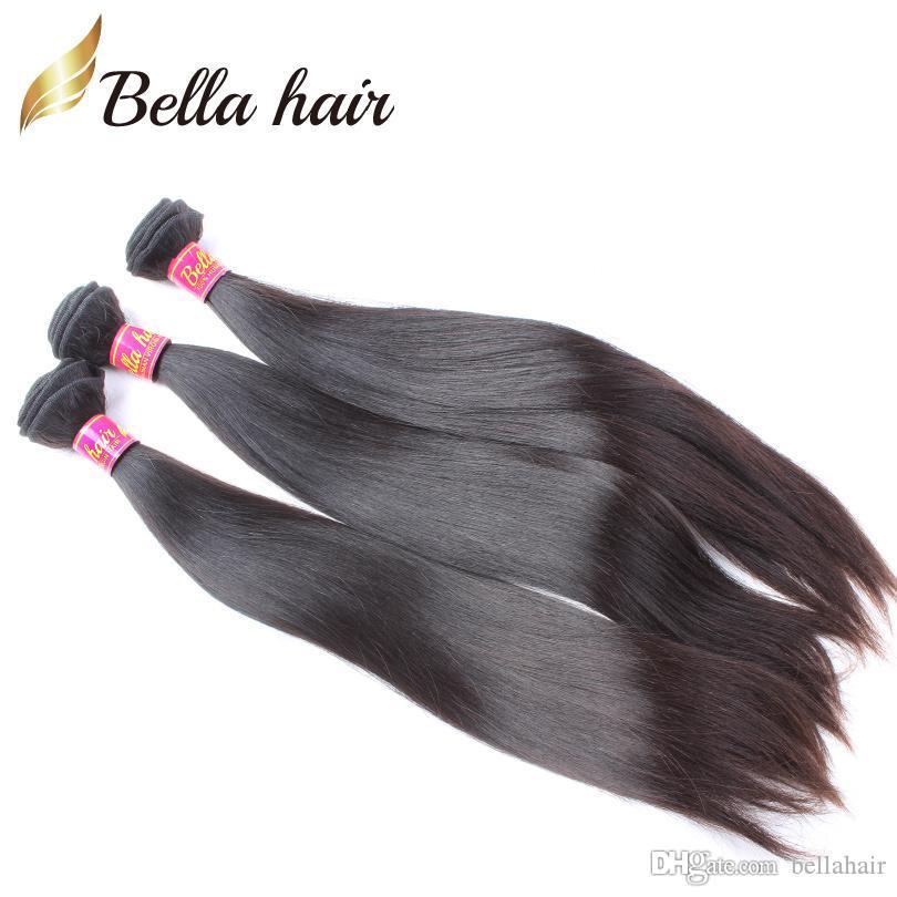 Peruvian Virgin Hair Buntlar Straight Hair Weaves 1or2or3or4pcs / Lot Human Hair Wefts Full Head Bellahair