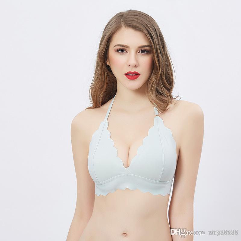 Women Deep V Seamless Bra Wireless One-piece Hanging neck Push Up Bra Comfortable Soft Underwear Women Lingerie Bras