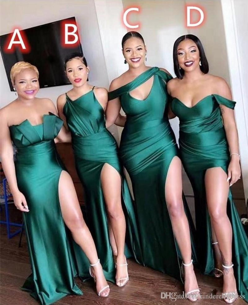 Latest Different Neckline 2020 Sexy Bridesmaid Dresses Ruched High Side Split Long Prom Dress Maid of Honor Gowns