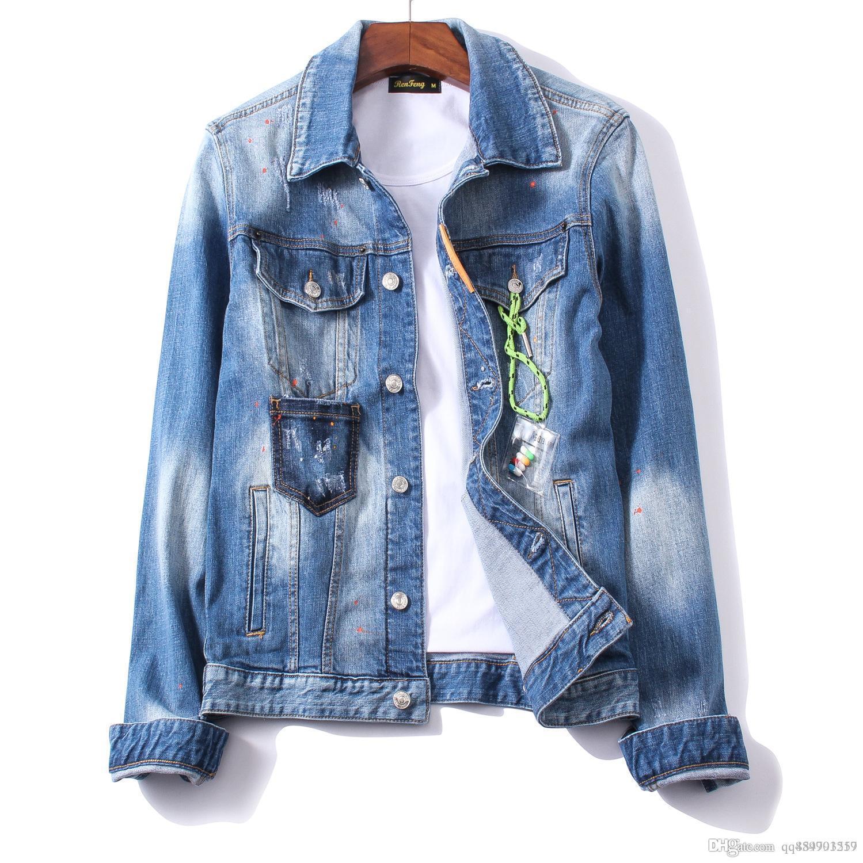 2019 Baskılı Mektupları Trend Yıkanmış Kişilik Gece Kulübü Moda Butik Denim Ceket Erkekler Erkek Designer ceketler Boyut M-2XL