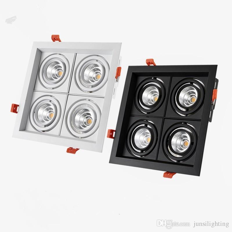 4 head carré LED Spotlights Encastré Downlight 40W AC85-265V Éclairage intérieur noir Blanc White White White