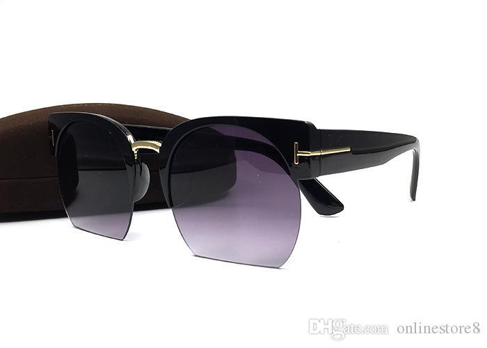 Luxo qualtiy nova moda tf olho de gato tom óculos de sol para homem mulher óculos de marca designer de meia quadros óculos de sol com caixa