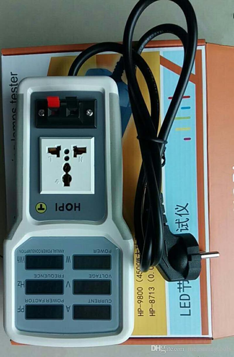 Hopi HP-9800 핸드 헬드 파워 미터 전력 분석기 LED 테스터 미터 소켓 측정 가능한 전류 전압 역률 모니터