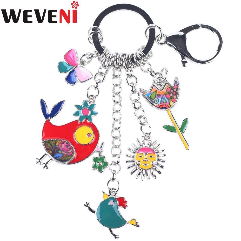 Cadenas baratos WEVENI esmalte metal pollo Flor bloquea llavero joyería del anillo dominante para las mujeres gota llavero del envío nuevo de la manera Accesorios