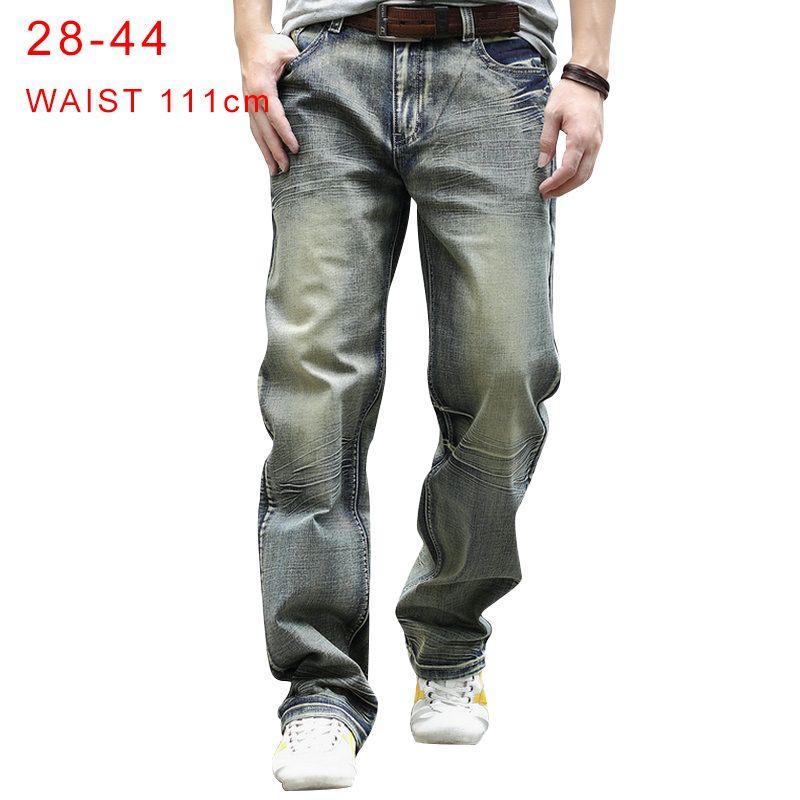 Мужские джинсы плюс размер 44 ретро мужской хип-хоп уличная одежда скейтборд мешковатый свободный хлопок прямые джинсовые брюки широкая нога
