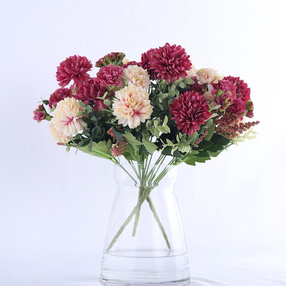 Hortensia de fleurs de soie Boule blanche Fleurs artificielles anniversaire de mariage Accueil Décoration Accessoires Faux Fleurs Bouquet