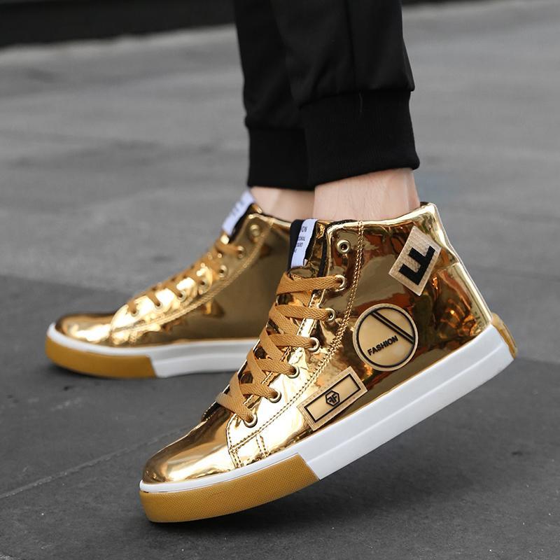 Ночной клуб досуга Обувь Rommedal High-топ Мужской Цельнолитные обувь Кожа PU Golden Hip Hop Мужчины Шнуровка Flat Luxury Designer