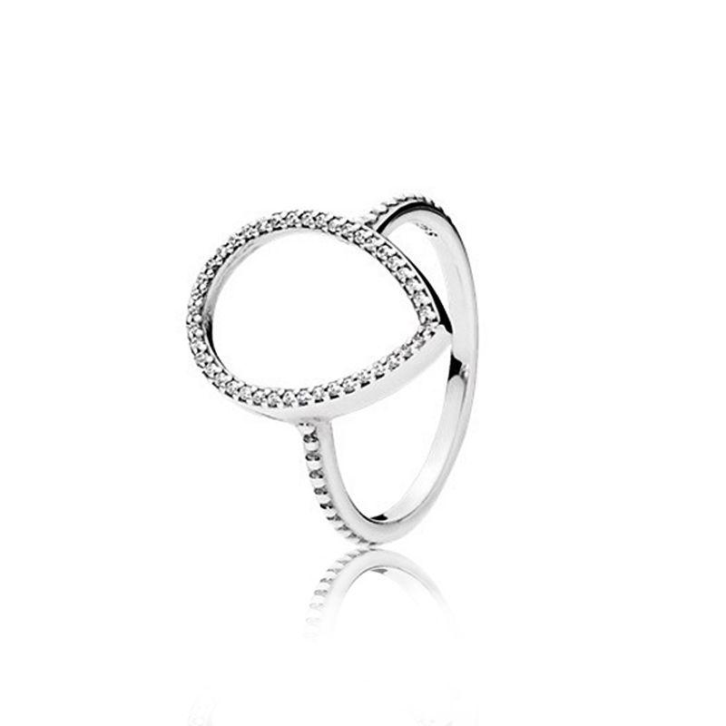 925 Sterling Silver Largel Drop Bague de mariage Boîte de haute qualité Ensembles Fashon CZ Diamond Hollow Teardrop Bagues pour femmes Cadeaux bijoux