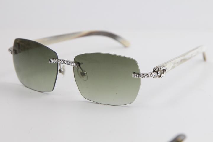 공장 도매 무테 금속 버팔로 호른 큰 돌 선글라스 8100905 선글라스 남성과 여성의 높은 품질 안경 blinged하게 아웃