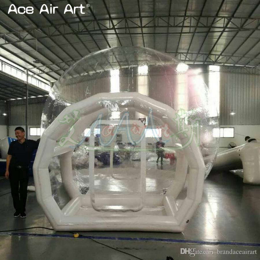 Inflatable transparent bubble tent with tunnel for camping High quality outdoor tarvel lightweight clear dome tent