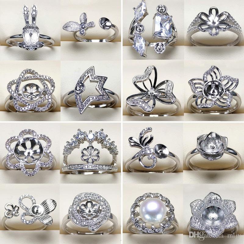 إعدادات diy اللؤلؤ خواتم 32 أنماط 925 الفضة خاتم الزركون الدائري للنساء فتاة الأزياء الدائري غرامة مجوهرات للتعديل diy هدية