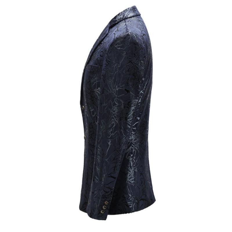 Alta qualidade da marca roupas de homem Inglaterra Estilo Único Breasted Impressão Casual Mens Slim Fit Blazer Masculino Plus Size
