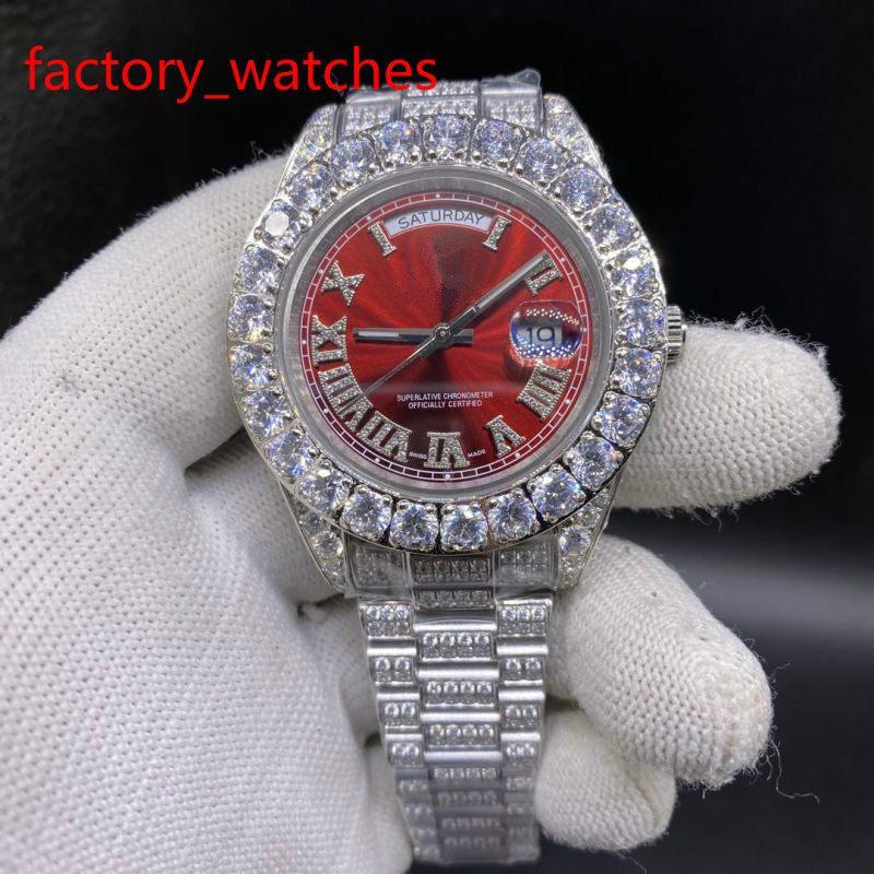 Çatal Seti Elmas Erkekler İzle Sıcak Satış kaliteli Saatler 43mm 316 Paslanmaz Çelik gümüş durumda kırmızı yüz İzle Otomatik Saatler