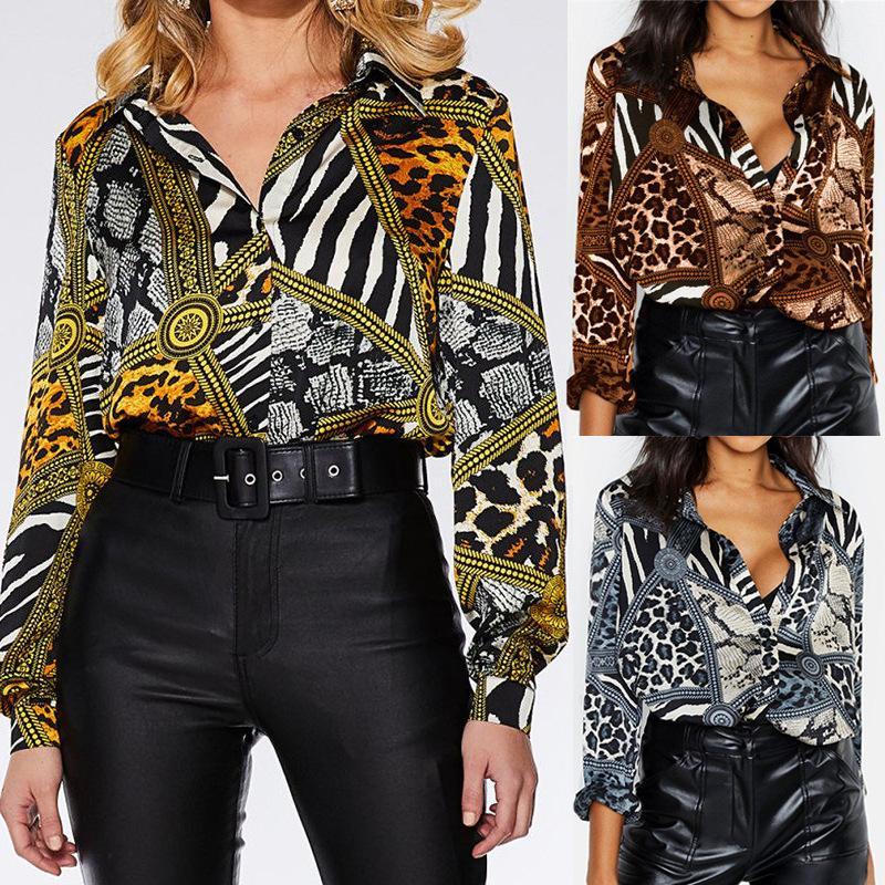 Mousseline blouses sexy chemisier léopard chemisier chemise à manches longues chemise chemise mode femme été été occasionnel tops femmes