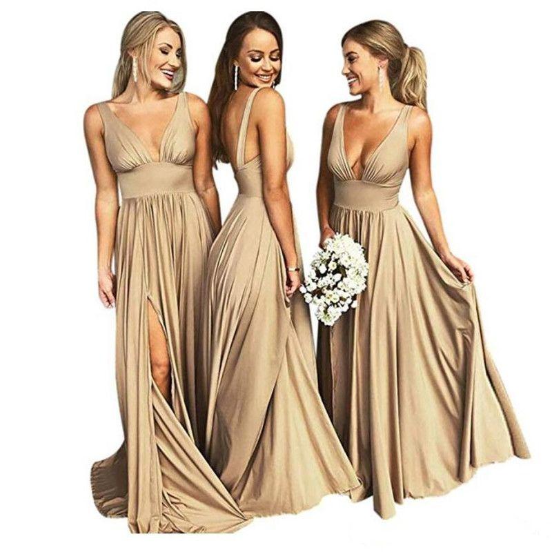 Champanhe Ouro Preto Longo Bridesmaids Vestidos Até O Chão 2020 Backless Vestido De Convidado Do Casamento Dividir Vestidos de Baile
