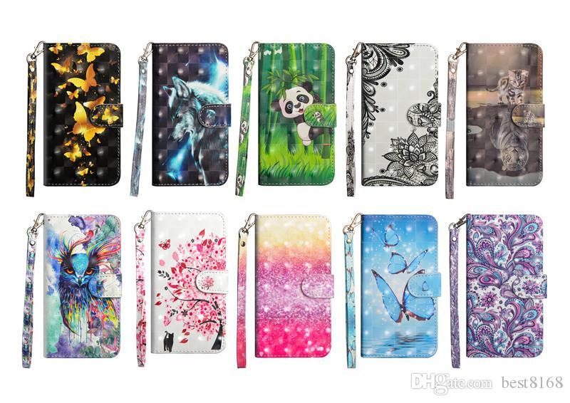 Étui portefeuille en cuir 3D pour Huawei P30 Pro Honor 10 Lite Galaxy S10 Plus Dentelle Papillon Fleur Panda Arbre Oiseau Flip Couvre Bande Dessinée Loup Hibou