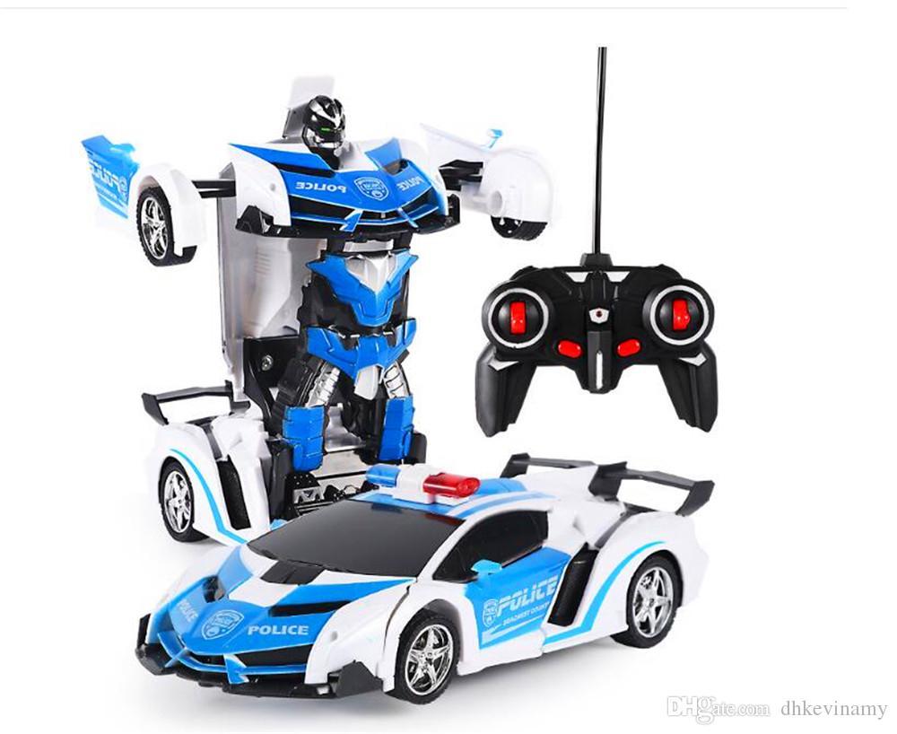 Araba Robot Oyuncak Şarj Edilebilir Deforme Olabilir Uzaktan Kumanda Araç Tek-Tıkla Dönüşüm Robot Erkek Yarış Bulmaca Çocuk Elektrikli Oyuncak