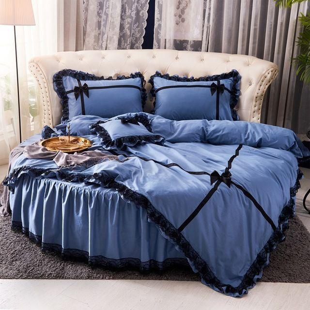 Todos os conjuntos de cama redondos de algodão 4 peças cama saia lace design conjuntos de cama redonda liderança Princess Princess Springprad para verão primavera
