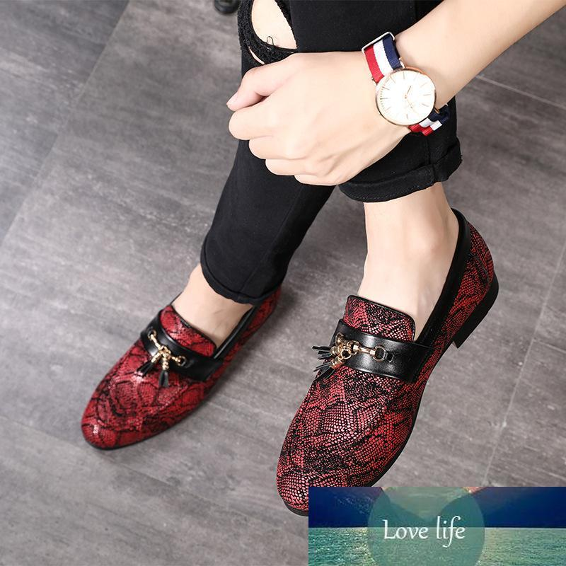 Personalità della nappa del modello di Snakeskin Abito scarpe 2019 di nuovo stile Doug scarpe casual in pelle Locale notturno Party di Natale 47 48