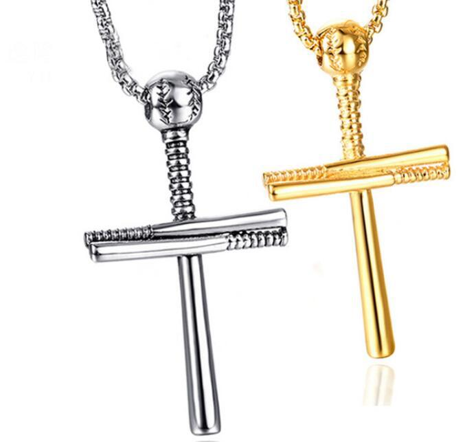 Mens Stainless Steel Baseball Cross Necklace Christian Faith Punk Pendants Necklaces Trendy Women Men Collar Gothic Friendship Jewelry New