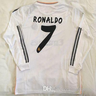 Top 2013/14 Jersey de fútbol retro Real Madrid de manga larga Beckham Zidane Raul Ronaldo Kaka Pepe Ramos 2014 Camisa de fútbol de FOTBOL TAMAÑO S-XXL